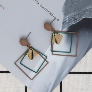 Jewelry - Brown Green Gold Square Drop Earrings